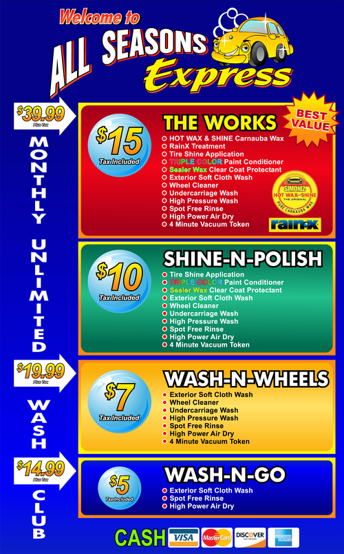 Tss Car Wash Menu
